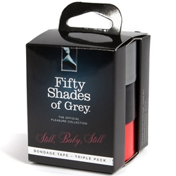 Fifty Shades of Grey Still Baby Still Bondage Tape Triple Pack (Black,Grey,Red 1 of ea) Bondage, Bondage Tape