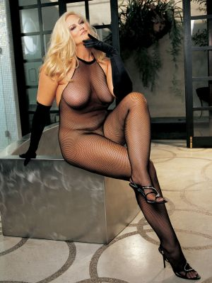 Plus Size Fishnet and Lace Halter-Top Body Stocking Clothing and Lingerie, Sex Toy Parties, Womens Full Body