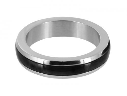 Stainless Steel Cock Ring with Black Band- Medium Cock Rings, Penis Jewelry, Metal Cock Rings