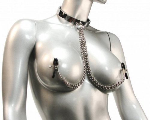Chrome Slave Collar with Nipple Clamps - SmallMedium Bondage Gear, Nipple Toys, Collars, Nipple Clamps and Tweezers