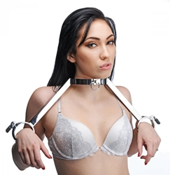 At Your Mercy Stainless Steel Neck to Wrist Restraints Bondage Gear, Handcuffs and Steel, Collars
