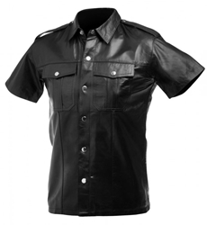 Lambskin Leather Police Shirt - XL Clothing and Lingerie, Mens Clothing