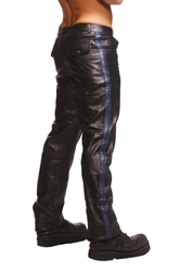 Police Leather Pants with Blue Stripe- 32 Inch Waist Clothing, Mens Clothing