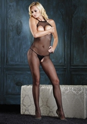 Seamless Fishnet Halter Bodystocking with Open Bust Clothing and Lingerie, Womens Full Body